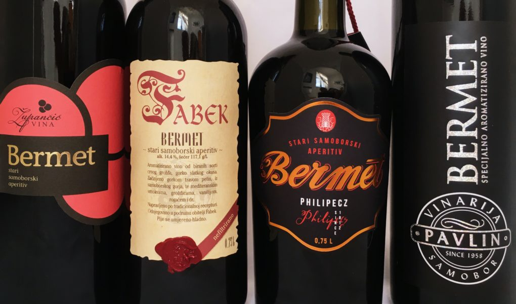 The four available brands of Samobor bermet spiced wine